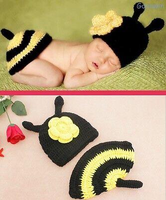 Neugeborene Baby Knit Strick Fotoshooting Kostüm Biene Mütze + Abdeckung (Neugeborene Biene Kostüm)