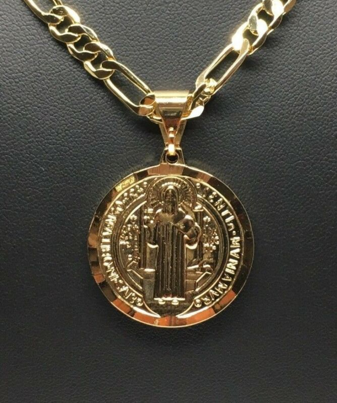 "Gold Plated San Benito Medalla Pendant Necklace Cadena 26"" Oro Laminado"
