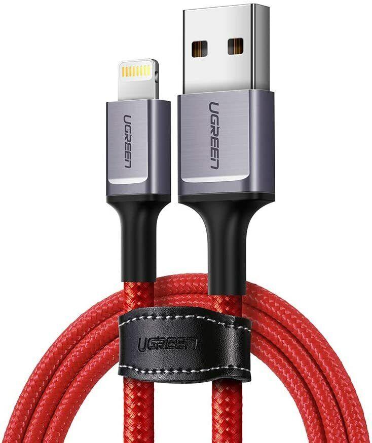 Ugreen Cavo Lightning USB 1 metro 2.4A Nylon Rosso - Certificato MFI