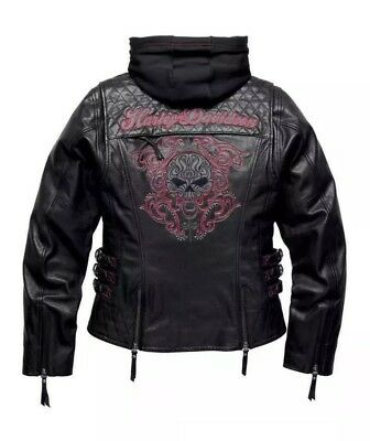 Women's Harley Davidson 3 in 1 Willie G Skull Leather Jacket W/ Hoodie ~ 2W