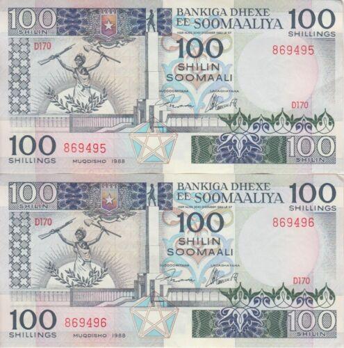 Somalia Banknote P35c-9495-96 100 Shilin 1988 Consecutive Pair, EF+