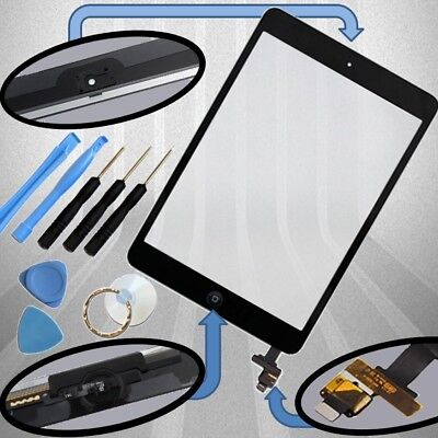 Apple iPad Mini 1 2 Digitizer schwarz Display Glas Touchscreen+Klebepads+IC Chip
