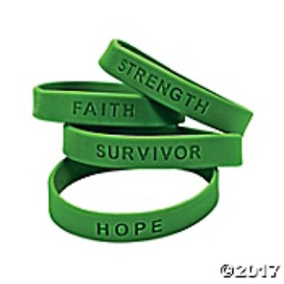 - 24 pc. GREEN  Awareness Sayings Bracelets Multiple uses Mental Health, Kidney