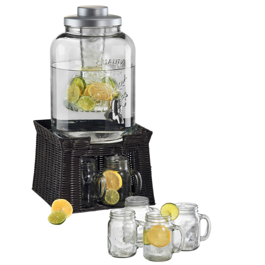 Artland Masonware Beverage Jar with Chiller and Infuser, 6 M