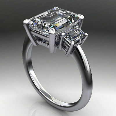 5.00Ct Emerald Cut Off White Moissanite  Engagement Ring 925 Sterling Silver