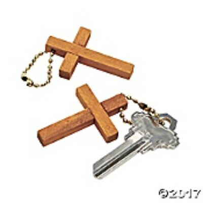 Wooden Cross Key Chains ~ Set of 12 Natural Wood Cross 1 3/4