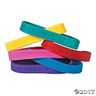 Set of 24 Faith Cancer Awareness Rubber Bracelets Multi Color Banding - Cancer Color