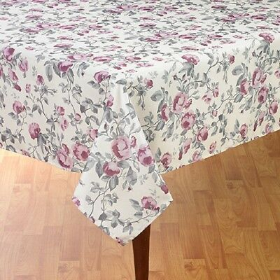 Purple Table Cloth (PURPLE FLORAL TABLE CLOTH POLYESTER FABRIC 52 x 70) (60 X 84) MACHINE WASH &)