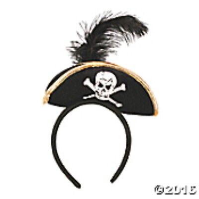 Mini Pirate Hat Headband w/feather Buccaneer Costume Womens Girls Ladies  Black (Pirate Headband)