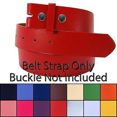 Plain Leather Snap-On Belt Strap Only (No Buckle) Solid Fun Colors Golf (Square Buckle Belt)