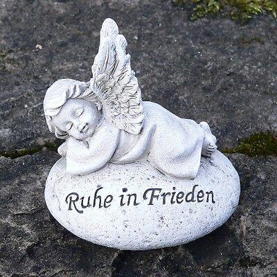 Grabschmuck Engel auf Stein Grabengel wetterfest Ruhe in Frieden Grabstein Deko