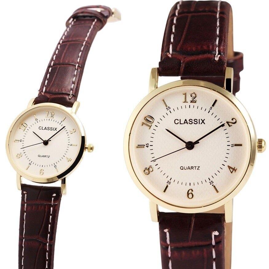 Damenuhr Armbanduhr 32mm Silber/Gold Braun Kunstlederarmband von CLASSIX 1900070