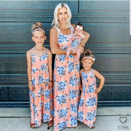 Partnerlook Mutter Tochter Kleid 3 St orange blau weiss L ca 98 110 NEU