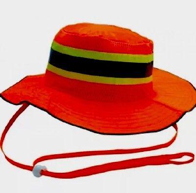 Safety Orange Reflective Hi Viz Boonie Hat Bucket Cap