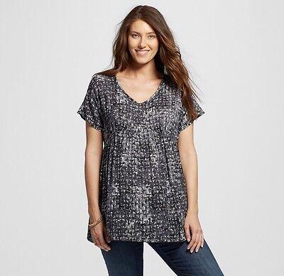New women's Liz Lange Maternity Pregnancy Top Tunic Black shirt Geo print 2XL