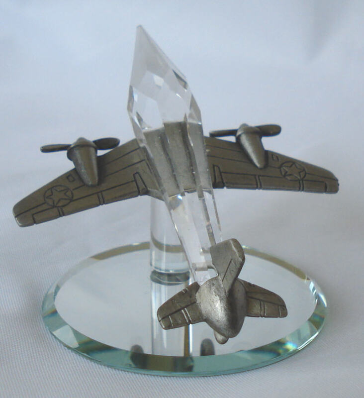 Pewter And Crystal Airplane Handcrafted Using Swarovski Crystal