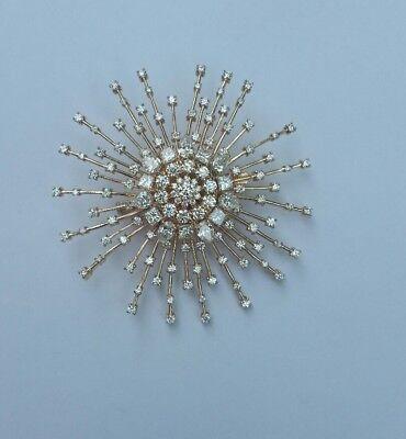 "6.5 ct D VVS1 round princess pear diamond sun pendant brooch 2.5""/60mm 14k gold"