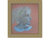 Original Drawing oil pastel pencil Art A girl handcrafting decoration