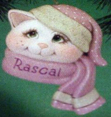 """Ceramic Bisque Ready to Paint Cat Sno-Kin Ornament 5"""" tall~FREE SHIPPING ~"""