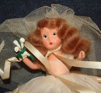 Vintage Doll Dorphine Deb 7 Inch Composition Doll White Dress Original Box - $9.99