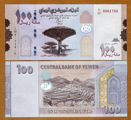 Yemen Arab Republic, 100 Rials, 2018 (2019), P-New, UNC > Redesigned