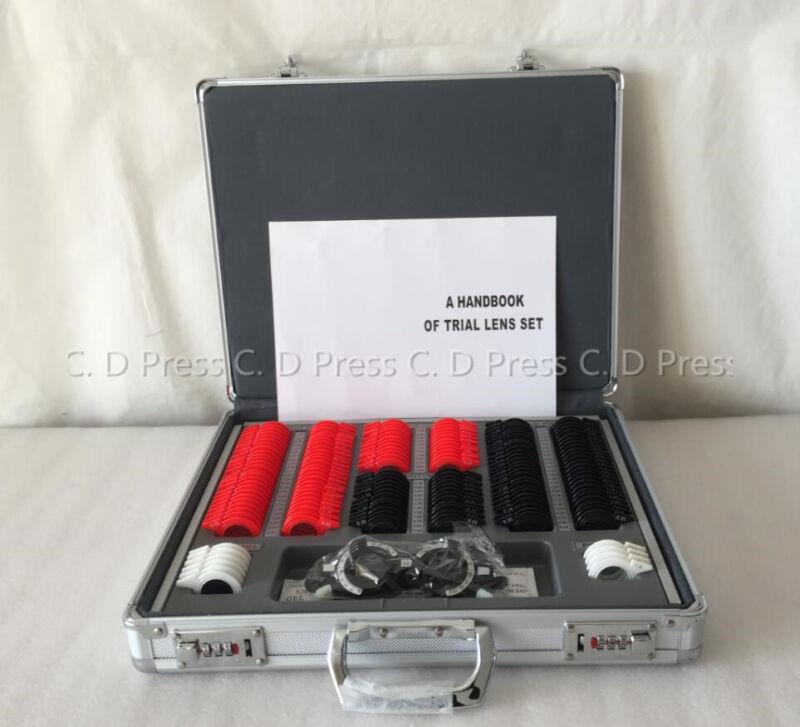 US 158 Pcs Plastic Rim Optical Trial Lens Set Aluminium Case + 1 Pc Trial Frame