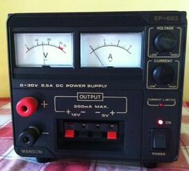 Power supply unit 0-30V, 2.5A (5V & 12V, 0.5A) in virtually new condition & working order