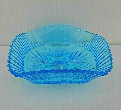 Vintage Sowerby blue pressed glass square bowl - #2455 - 17 cms (6.75