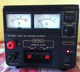 Power supply unit 0-30V, 2.5A (5V & 12V, 0.5A) - bargain - for £ 45 ovno
