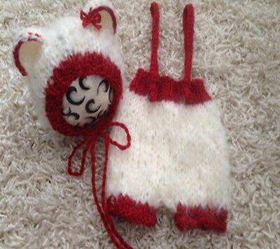 ★★★NEU Baby Fotoshooting Kostüm Set 2Tlg. Kleiner Bär rot weiß 0-3 Monate★★★AD