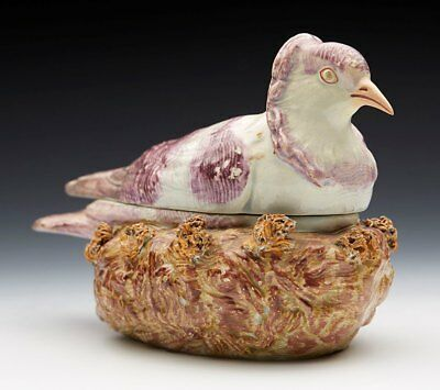 ANTIQUE STAFFORDSHIRE PEARLWARE PIGEON TUREEN EARLY 19TH C.