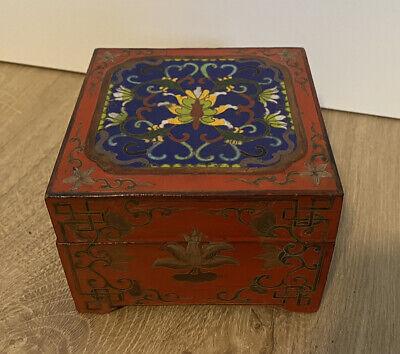 Chinese Dragon Lead Jewelry Box Unique Stash Lid Box Vintage Red Dragon Keepsake Box