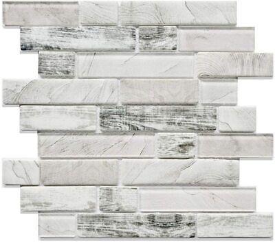 Grey Glass Tile Backsplash Kitchen Bathroom Wall, Mesh Mounted Backed Mosaic