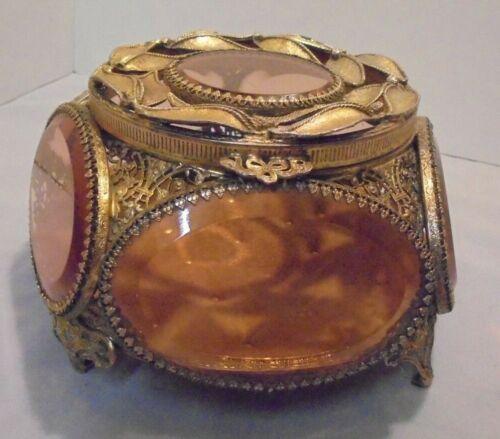 "Gilt Ormolu Filigree Jewelry Casket, Pink Beveled Oval Glass, 4.25"" Tall Vintage"