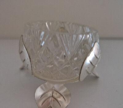 Saliere Salznäpfchen Salzgefäß Glas Salznapf Vintage versilbert 50er 60er