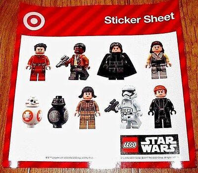STAR WARS THE LAST JEDI Target LEGO STICKERS PAGES - (2) TWO Sheets! Brand NEW!