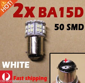 2x BA15D WHITE 50SMD LED For Caravan Boat Ship Anchor Brake Light Bulk light 12V