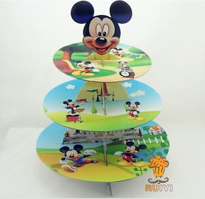 3 Tier Cupcake Stand Cup Cake Cases Toppers Wrappers, Mickey Mouse