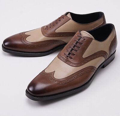 Nib  895 Ermenegildo Zegna Brown Tan Wingtip Balmoral Us 10 5 D Dress Shoes