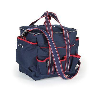 NEW Shires Team Navy Grooming Kit Bag Brush Storage - Pockets - Shoulder Strap