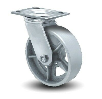 Swivel Plate Caster 6 X 2 Cast Iron Wheel 4 X 4-12 Plate Spoked One