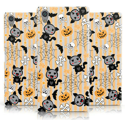 DYEFOR CAT COSTUME HALLOWEEN GREY STRIPE PRINT PHONE CASE COVER FOR SONY XPERIA