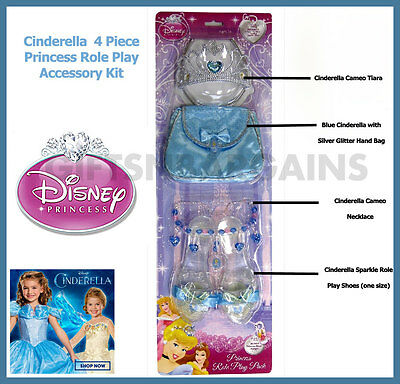Disney Princess Cinderella Girls All-in-1 Role Play Costume Accessories Dress Up