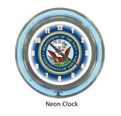 U.S. Navy Double Ring Neon Wall Clock Brand New