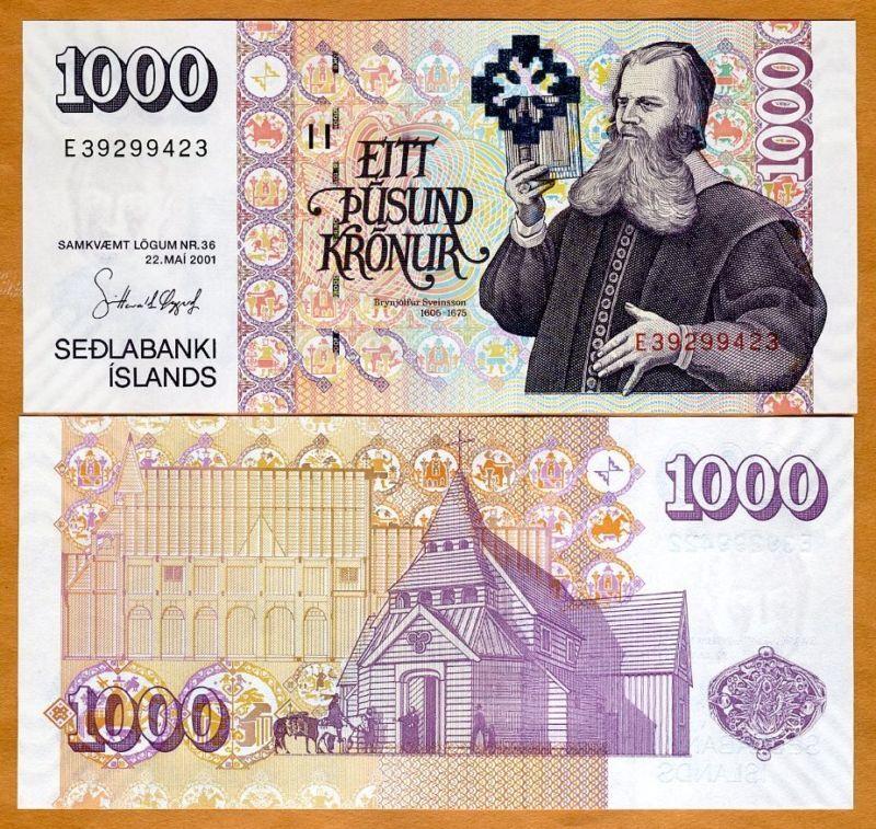 Iceland, 1000 (1,000) Kronur 2001, Signature (2009) Pick 59-New UNC