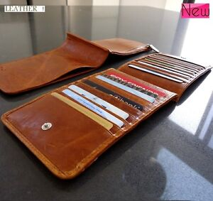 Money-genuine-leather-Credit-Cards-Holder-Wallet-18-slots-bag-handmade-Purse-car