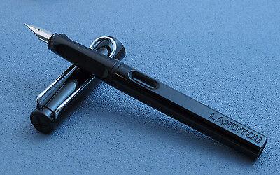 Nice LANBITOU Safari Fountain Pens BLACK, Quality, Bonus 12 Color Cartridges!