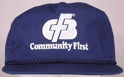 Vtg Community First Hat Blue Leather Strapback Rope Bill Arvada Co Usa Cash Bank
