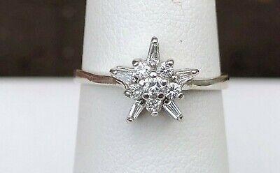 14K WHITE GOLD BAGUETTE & ROUND FLOWER DIAMOND RING SIZE 6 Baguette Diamond Flower