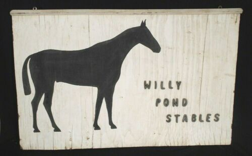 VINTAGE MID CENTURY DOUBLE SIDED HORSE STABLE WOOD SIGN